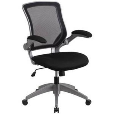 #Flash Furniture Mid-Back Mesh Swivel Task Chair with Gray Frame and Flip-Up Arms, Multiple Colors