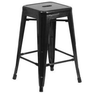 Flash Furniture 24 High Backless Metal Indoor-Outdoor Counter Height Stool with Square Seat, Multiple Colors