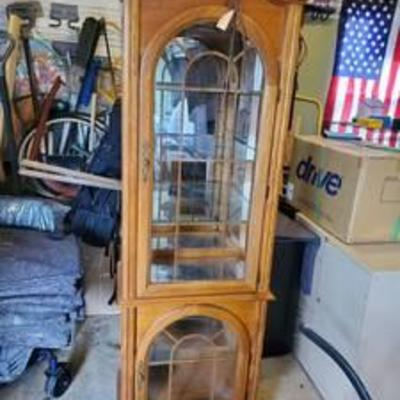 2 Door Oak Curio Cabinet - with light and glass shelves