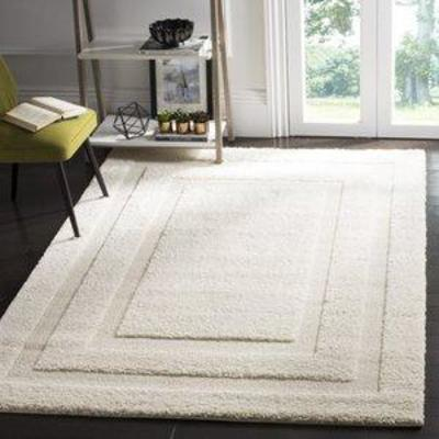 Creme Abstract ShagFlokati Loomed Area Rug - (8'6X12') - Safavieh, Adult Unisex, Size 8'6X12'