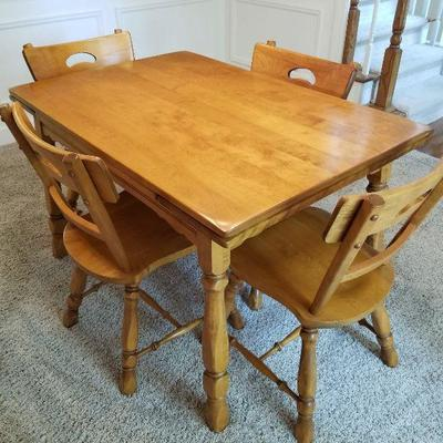 Lot # 2 - (Same table as Lot # 1)$350 Vintage Dining Room Table & Four Chairs with pull out end leafs that pull up and then out to extend...
