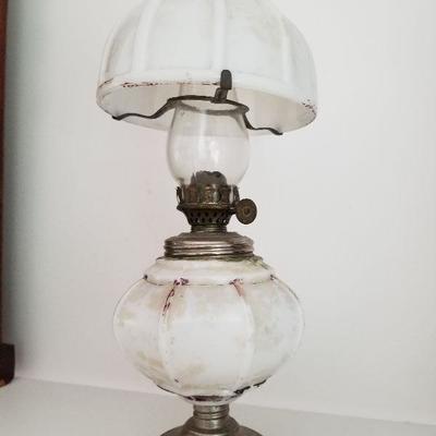Lot # 9 $20 Vintage Oil Lamp (White Glass/Milk Glass