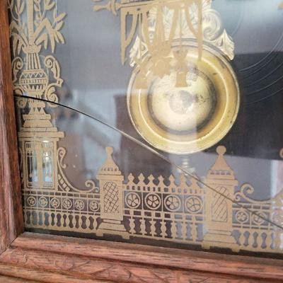 Pic of Lot # 7 (Unfortunately glass is cracked acoss the bottom of clock) If carefully done could possibly be restored.
