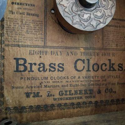 Pic of inside of clock Lot # 8 (Previous Pic) WM Gilbert & Co. Clock