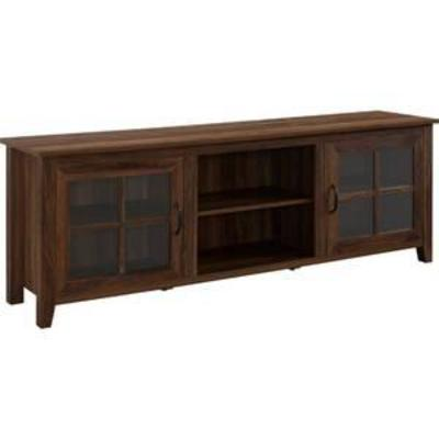 70 Farmhouse Wood TV Stand with Glass Doors- Dark Walnut