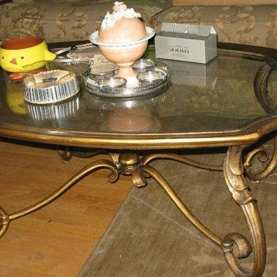 gold painted iron and glass top coffee table BUY IT NOW $ 75.00