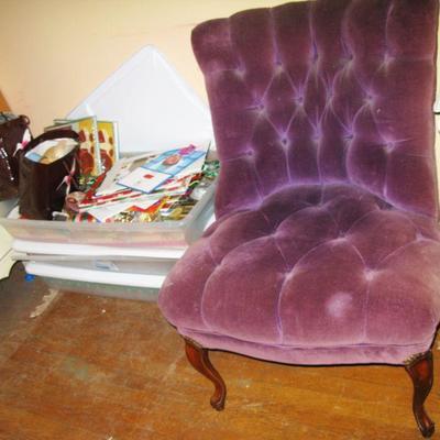 Purple velvet tufted chair  BUY IT NOW $ 85.00