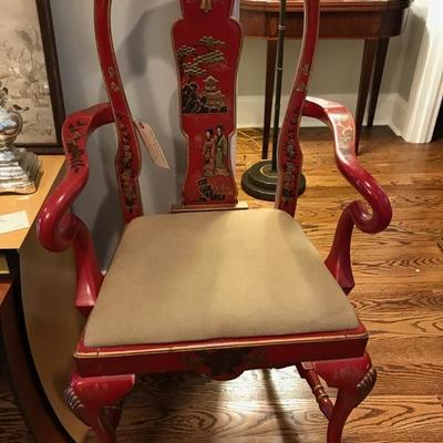 Chinese lacquered arm chair $175 2 available