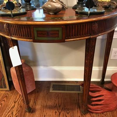 Modern carved demi lune table $350