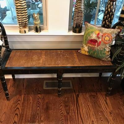 Modern Caned black and gold bench $175