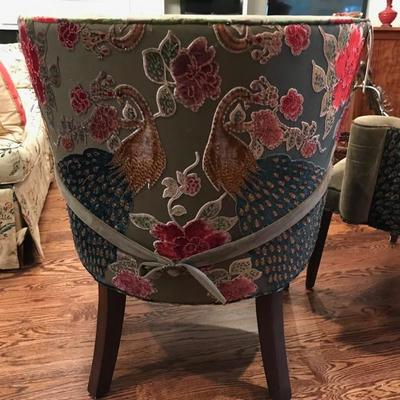 Haute House stuffed back peacock chair $500 on left