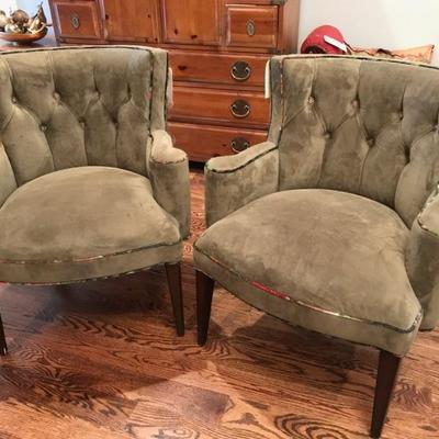 Haute House stuffed back peacock chair $500 on left right chair is $350