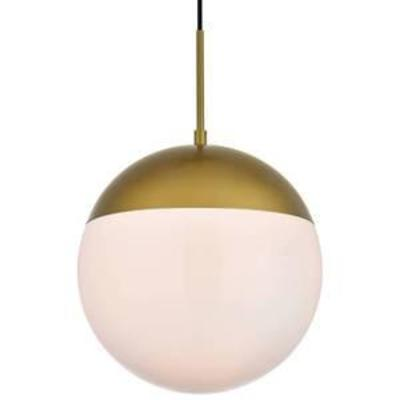 Elegant Lighting Eclipse Single Light 12 Wide Pendant with Frosted Glass