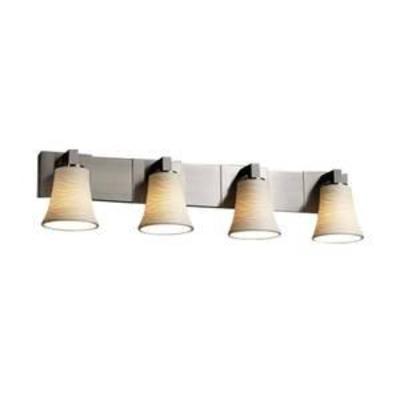 Justice Design Group Limoges 4 Light 35-14 Wide Bathroom Vanity Light with Translucent Porcelain Shades