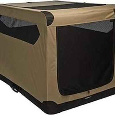 AmazonBasics Portable Folding Soft Dog Travel Crate Kennel - 31 x 31 x 42 Inches, Tan