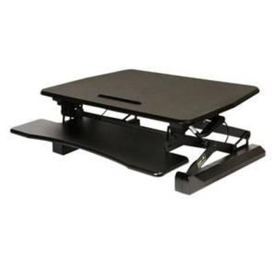 AIRLIFT Black 35.4 Height Adjustable Standing Desk Converter Workstation With Dual Monitor Riser and Keyboard Tray