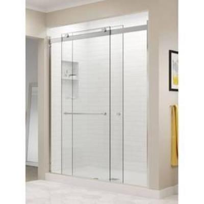 Basco Rotolo 44-48 W x 70 H inch Semi-Frameless Sliding Shower Door Clear Glass, Brushed Nickel Finish (RTLA05B4870CLBN)