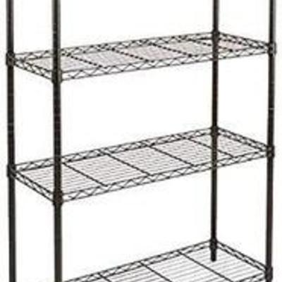 AmazonBasics 4-Shelf Shelving Storage Unit, Metal Organizer Wire Rack, Black (36L x 14W x 54H)