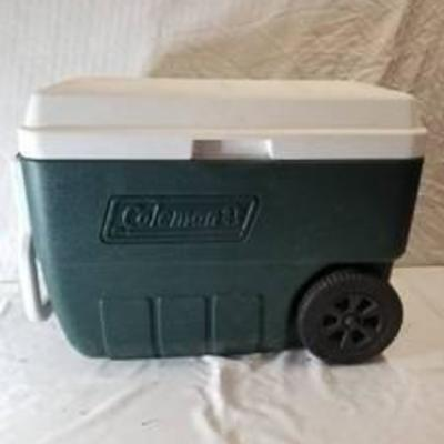 Coleman Green Cooler With Wheels And Handle