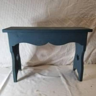 Blue Small Wooden Bench With Hearts