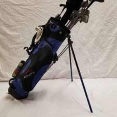 Acuity Golf Bag with Stand, Gold Balls And Clubs