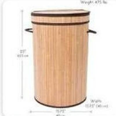 Birdrock Home Round Laundry Hamper With Lid And Cloth Liner - Bamboo - Natura...