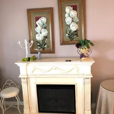 TwinStar Electric Fireplace Insert w/Mantel (Cream finish) - $175