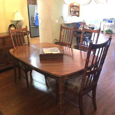Mead Corp. Stanley Furniture Dining Table w/6 Chairs, 1 leaf - $95