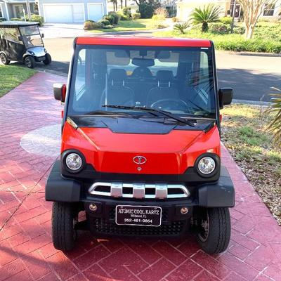 2016 Atomic electric golf cart. Seats 4. AC/Heat. Available for pre-sale. Call Bruce at 352-215-3669 to make an appointment.