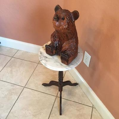 carved wooden bear Bombay company wood/marble stand