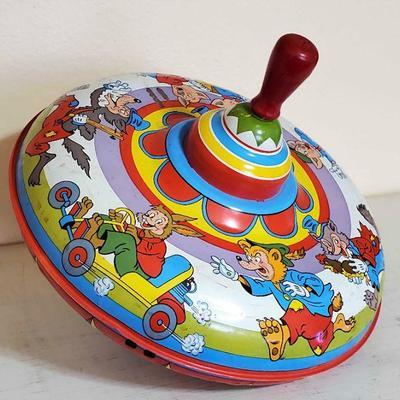 Vintage Spinning Tin Top Toy.