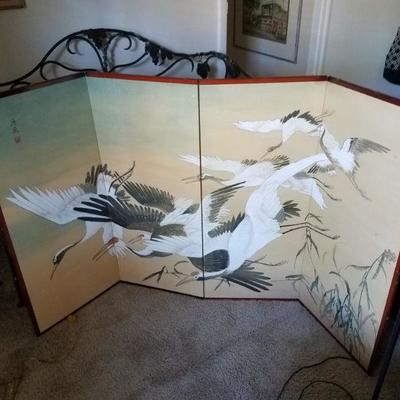 Signed, Japanese 4-panel screen, silk on both sides, signed.