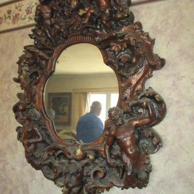 Antique Gothic Angel Cherub Zodiac Brutalist Style Carved Wall Mirror