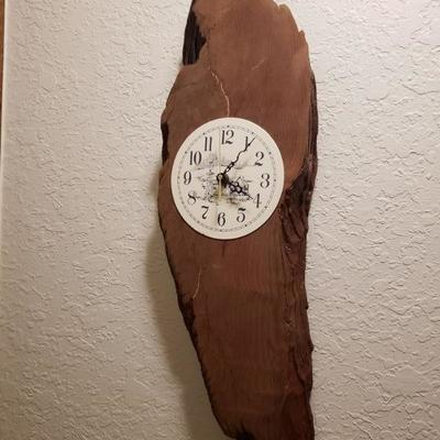 HAND-CRAFTED WOOD WALL CLOCK $125