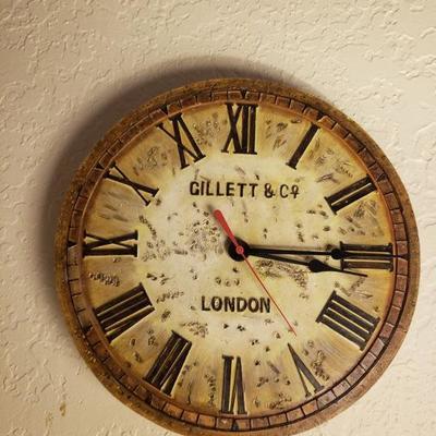GILLETT & CO. ROMAN NUMERAL WALL CLOCK/LONDON DECOR $15
