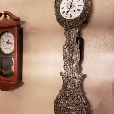 ANTIQUE FRENCH MORBIER COMTOISE WALL CLOCK W/KEY - GORGEOUS!! $395