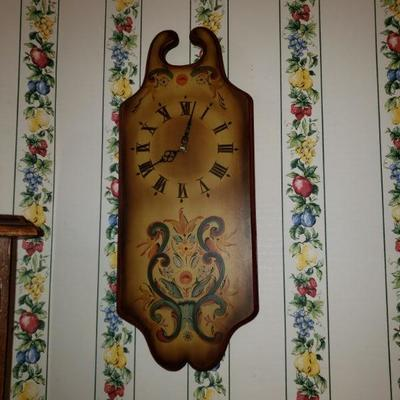WOODEN WALL CLOCK-HAND PAINTED $95