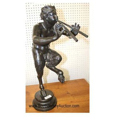 Pan half-man, half-goat playing a pair of flutes bronze statue