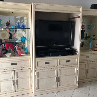 The colored glass in this entertainment center has already been sold last weekend