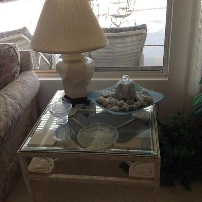 3 glass top side tables