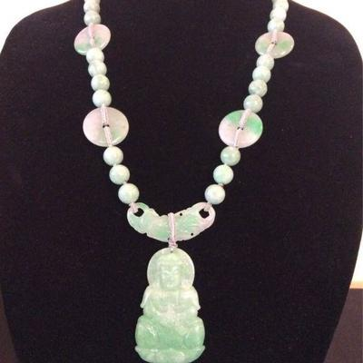 MLC014 Green Jade Pendant & Beads Necklace