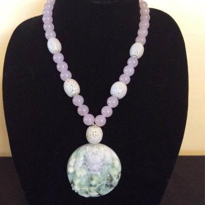MLC012 Lavender Green Jade Pendant & Lavender Jade Bead Necklace