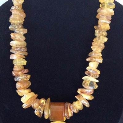 MLC003 Amber Jade Dragon Necklace