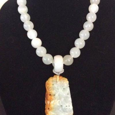 MLC018 Honey Yellow Jade Pendant & Moonstone Beads Necklace