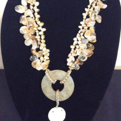 MLC004 Keshi Petal Pearls & Jade Necklace