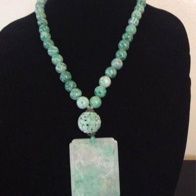 MLC016 Green Jade Pendant & Jade Beads Necklace
