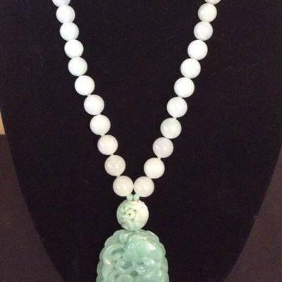 MLC010 Celadon Green Jade Necklace