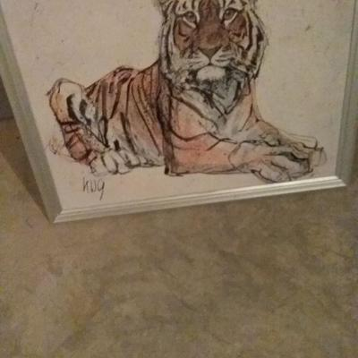 Vintage Painting of a Tiger by Fritz Rudolf Hug
