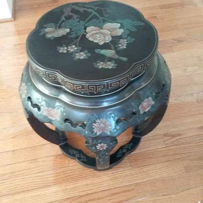 Asian Accent Table with Embossed Floral Design