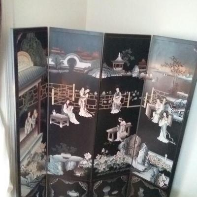 Ornate Four Panel Asian Inspired Black Wooden Screens #2
